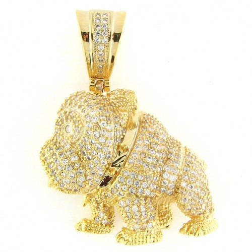 14K GOLD PLATED ICED OUT BULL DOG CZ  HIP HOP PENDANT