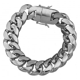 Rhodium Plated Miami Cuban Link Heavy Hip Hop Bracelet