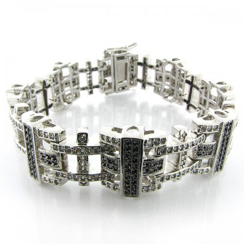WHITE GOLD PLATED MICRO PAVE HIP HOP BRACELET FOR MEN