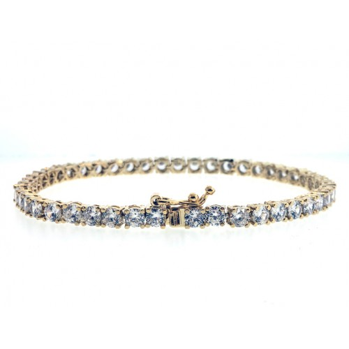 14K GOLD PLATED  ICED OUT TENNIS CZ HIP HOP BRACELET
