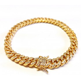 14K GOLD PLATED ICED OUT MIAMI CUBAN LINK HEAVY MENS BRACELET 8MM