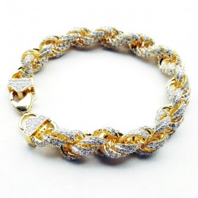 14K GOLD PLATED ICED OUT HIP HOP CZ ROPE BRACELET