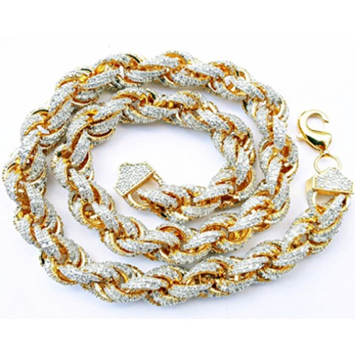 14K GOLD PLATED ICED OUT HIP HOP CZ ROPE CHAIN