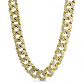 14K GOLD PLATED ICED OUT MIAMI CUBAN LINK MENS HEAVY HIP HOP CHAIN CHOKER SIZE