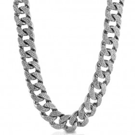 14K WHITE GOLD PLATED ICED OUT MIAMI CUBAN LINK MENS HEAVY HIP HOP CHAIN CHOKER SIZE