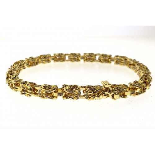 14K Gold Plated Men's Iced Out Byzantine Bracelet