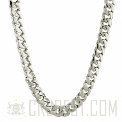 "14MM 30"" RHODIUM PLATED MIAMI CURB CUBAN LINK CHAIN"
