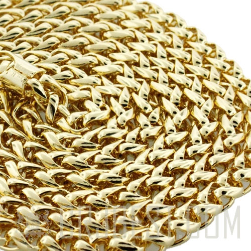 "CH003 : 6MM 38"" BASKET WEAVE CHAIN 14K GOLD"