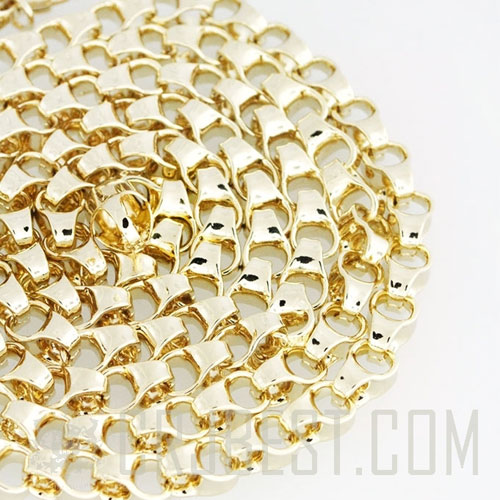 "7MM 38"" OG LINK CHAIN 14K GOLD PLATED"