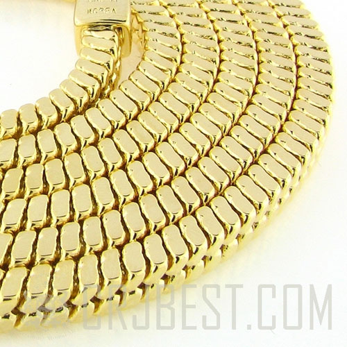 "14K GOLD PLATED  4MM 38"" SQUARE SNAKE HIP HOP CHAIN"
