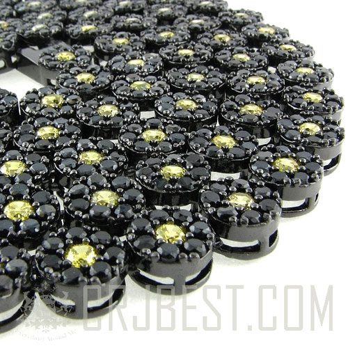 "CHCZ01 : 33"" BLACK OUT FRUITY BUBBLE CLUSTER CZ FLOWER CHAIN"