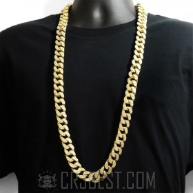 "NEW 18MM 38""/30"" YELLOW GOLD HEAVY MIAMI CUBAN CZ LINK CHAIN"