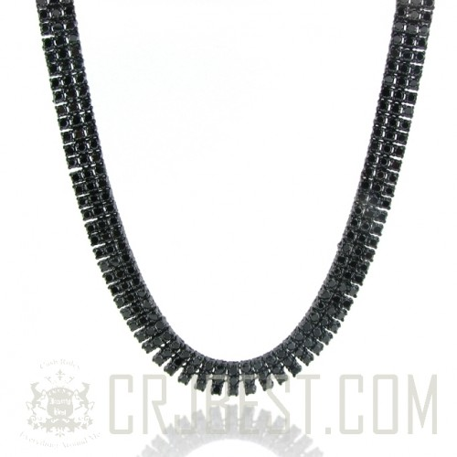 BLACK ICED OUT GOLD PLATED CZ PHARAOH CHAIN NECKLACE (3 ROWS)