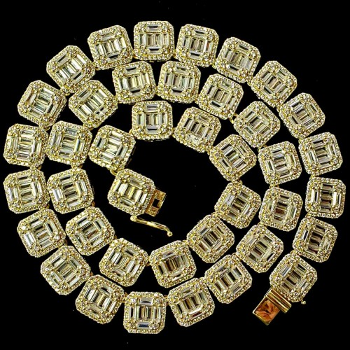 14K Gold Plated Baguett  CZ Iced Out Chain Hip Hop Chain Necklace