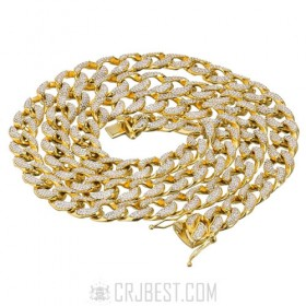 "New 15mm 30""14k Gold Finish Iced Out Lab Diamond Miami Cuban Chain"