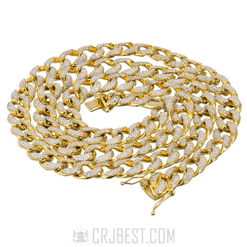 """New 15mm 30""""14k Gold Finish Iced Out Lab Diamond Miami Cuban Chain"""