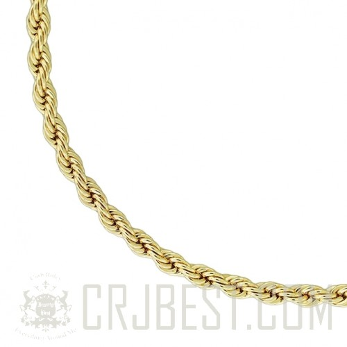 """36"""" GOLD 5MM GOLD FINISH ROPE FASHION CHAIN"""