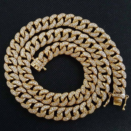 14K GOLD PLATED ICED OUT MIAMI CUBAN LINK MEN'S HIP HOP CHAIN