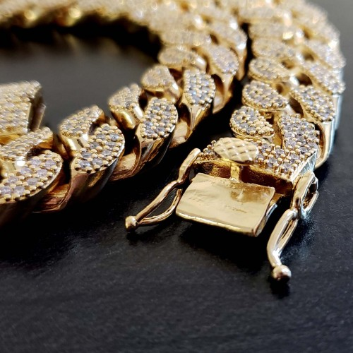 14K GOLD PLATED ICED OUT MIAMI CUBAN LINK MENS HEAVY CHAIN CHOKER SIZE