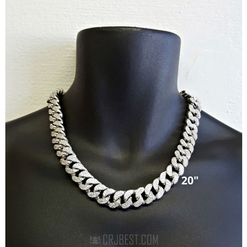"""15 MM 20"""" Iced Out CZ Miami Curb Cuban Link Chain"""