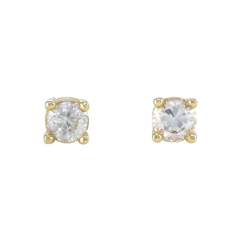 14K Gold Plated 925 Sterling Silver Stud Earring Screw Back