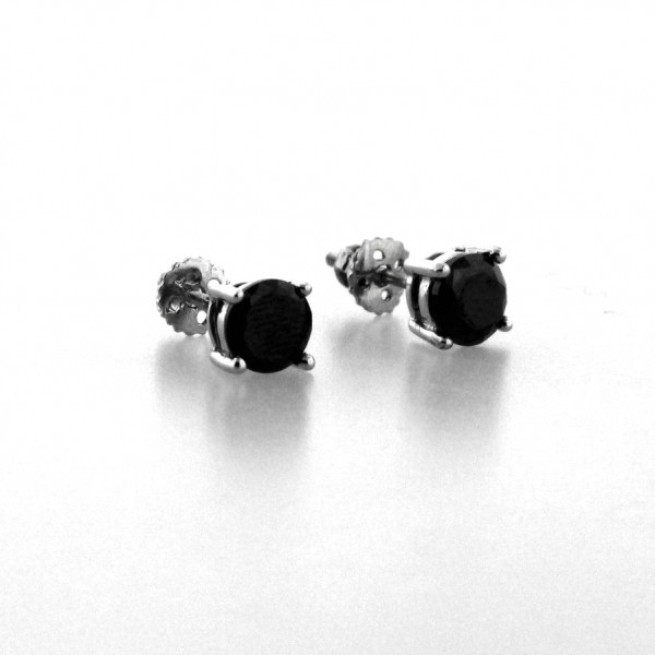 14k White Gold Plated 925 Sterling Silver Black Stone Stud Earring Back