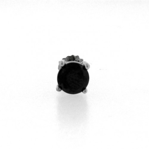 14K White Gold Plated 925 Sterling Silver Black Stone Stud Earring Screw Back