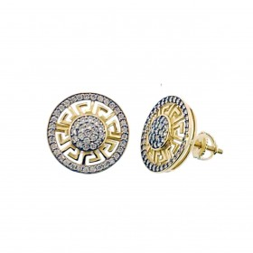 14K Gold Plated 925 Sterling Silver Large Round Screw Back Earring For Men