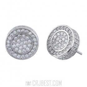 925 Sterling Silver Round Micro Pave Earring 8mm