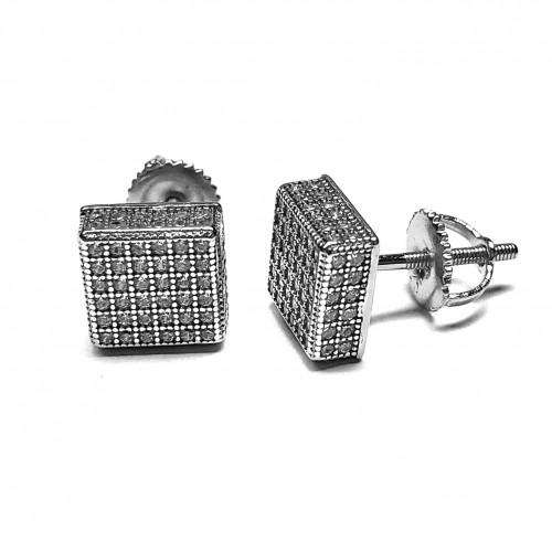 925 Sterling Silver 14k White Gold Finish Square CZ 8mm Earring