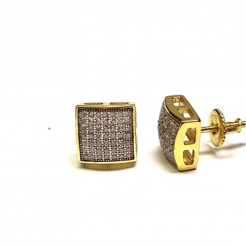925 Sterling Silver 14k Gold Finish Square CZ 8mm Earring