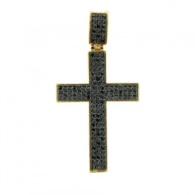BLACK ICED OUT  MICRO PAVE LATIN CROSS HIP HOP PENDANT