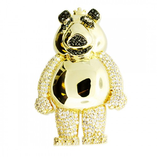 14K GOLD PLATED ICED OUT BEAR CZ  HIP HOP PENDANT