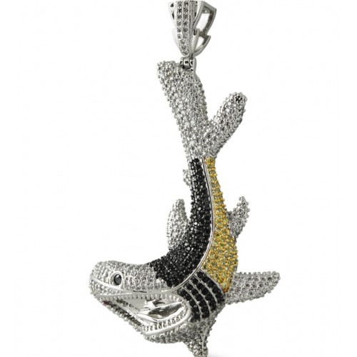 RHODIUM PLATED ICED OUT JAWS CZ  HIP HOP PENDANT