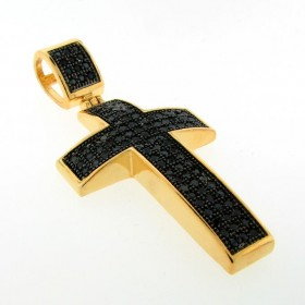 PEP004-2901 : SMALL BLACKOUT PAVE LATIN CROSS PENDANT