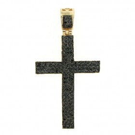 14K GOLD FINISH HIP HOP BLACKOUT CZ LATIN CROSS CHARM PENDANT