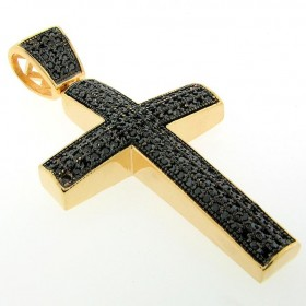 14K GOLD FINISHED BLACKOUT CZ LATIN CROSS CHARM PENDANT