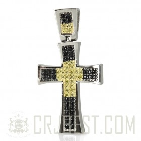 TWO TONE PAVE LATIN CROSS PENDANT