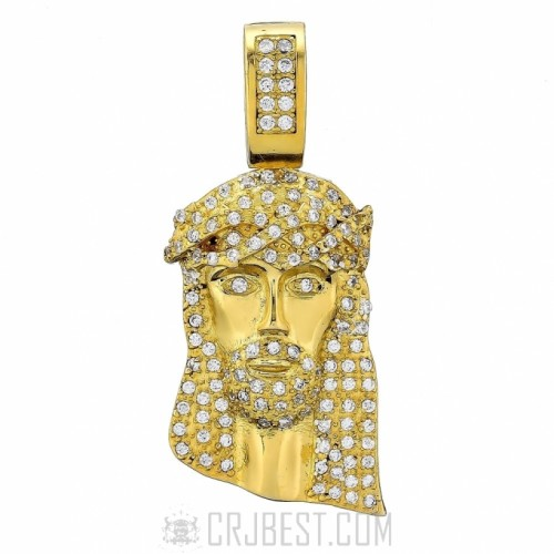 925 STERLING SILVER 14K GOLD FINISH YELLOW CZ JESUS FACE PENDANT 22mm