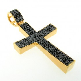 PEP004-51 : ICED OUT HIP HOP BLACKOUT PAVE CREAM CROSS CHARM PENDANT