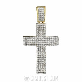 925 STERLING SILVER 14K GOLD FINISH ICED OUT CROSS LAB DIAMOND PENDANT