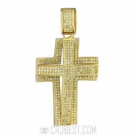 925 STERLING SILVER 14K GOLD FINISH SMALL CROSS