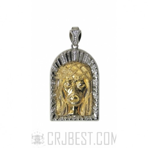 ICED OUT TWO TONE ARCHES JESUS FACE PENDANT