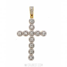 NEW 925 STERLING SILVER ICED OUT CROSS HIP HOP PENDANT