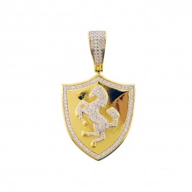 14K Gold Plated 925 Sterling Silver Hip Hop Rapper Iced Out Ferrari Pendant