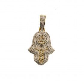 Mens 14K Gold Plated Iced Out Hamsa Hand Pendant for Hip Hop Rappers
