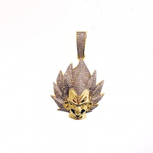 Mens 14K Gold Plated Iced Out Goku Face Pendant for Hip Hop Rappers