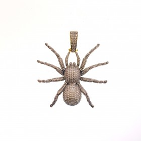 Mens 14K Gold Plated Iced Out Spider Pendant for Hip Hop Rappers