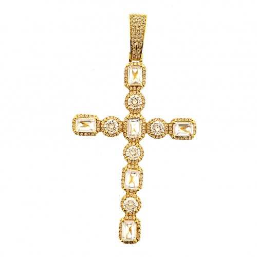 14K GOLD PLATED ICED OUT BAGUETTE PAVE CROSS PENDANT