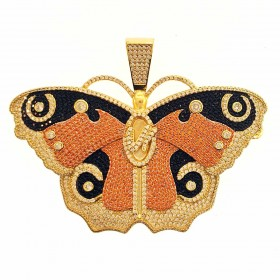 14K Gold Plated Iced Out Large Butterfly CZ Hip Hop Rapper Style Pendant
